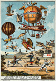 Utopian flying machines of the previous century, France, 1890-1900 (chromolithograph trading card).